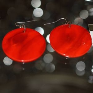 Jewelry - Round Red Glass Earrings